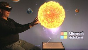 Me with the HoloLens and an Hologram of the sun