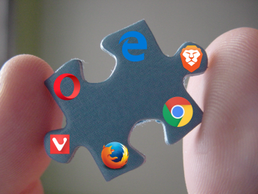 Main logo of the article. A puzzle piece, symbolizing an extension, with the logo of Edge, Brave, Chrome, Firefox, Vivaldi and Opera on it