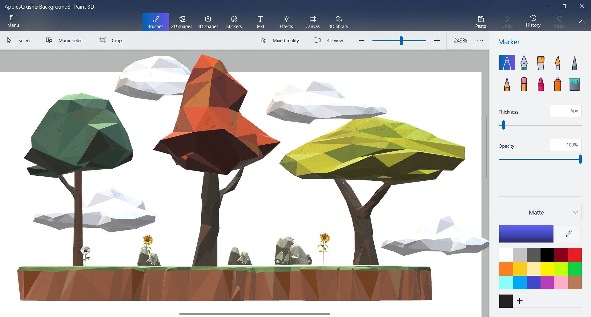 Building the 3d scene of the game using Paint 3D and glTF models