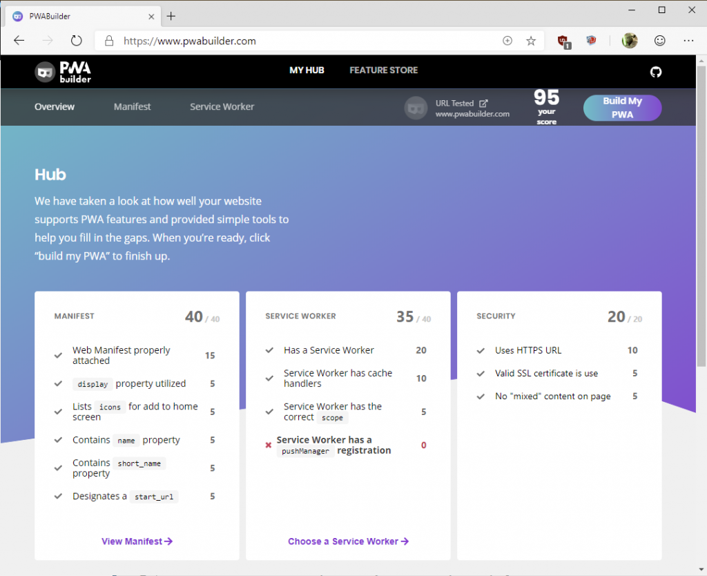 Screenshot of PWA Builder inspecting the www.pwabuilder.com site to provide a score and remaining tasks to do to improve the PWA