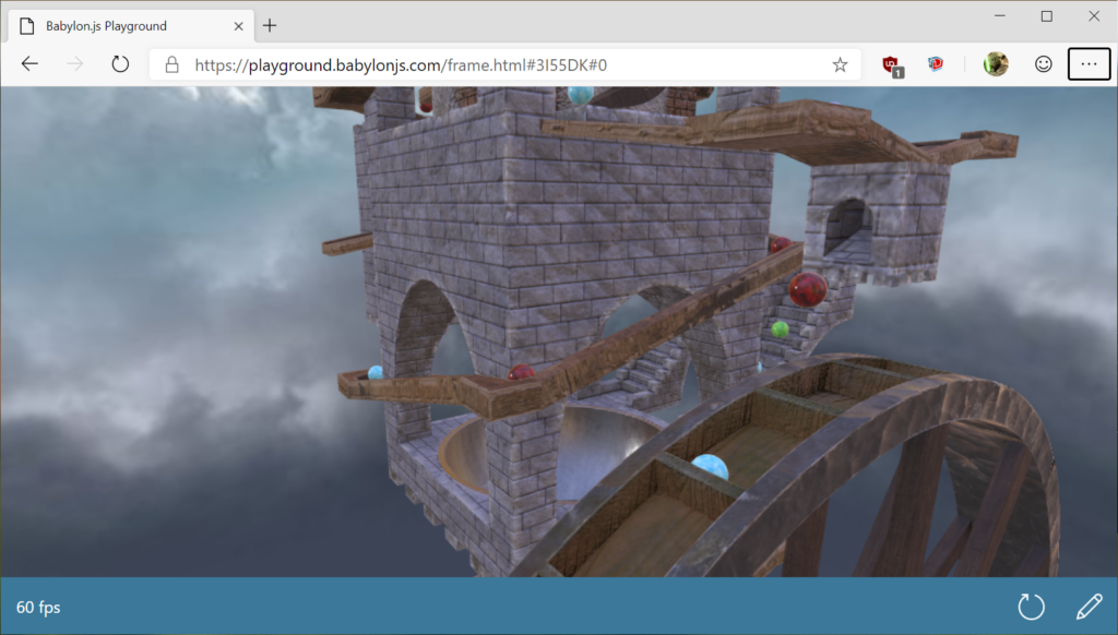 Screenshot of a babylon.js demo using the latest physics engine in Web Assembly