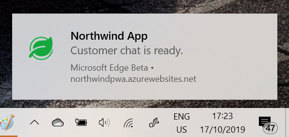 Screenshot of the notification being displayed on Windows 10 from the PWA