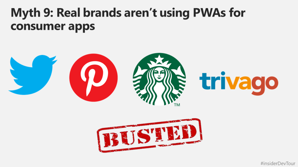 Slide showing Twitter, Pinterest, Starbucks and Trivago as important well-known brands using PWA